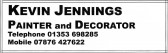 Advertisement taken from the Parish Magazine for local Painter and Decorator, Kevin Jennings, of Pymoor.
