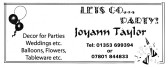 An advertisement taken from the Parish magazine for Pymoor resident, Joyann Taylor, who provides decor for parties and weddings.