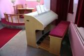 The electric organ in the Pymoor Methodist Church.