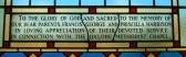 Detail from the commemorative window in the Pymoor Methodist Church dedeicated to the memory of Francis and Prucilla Harrison.