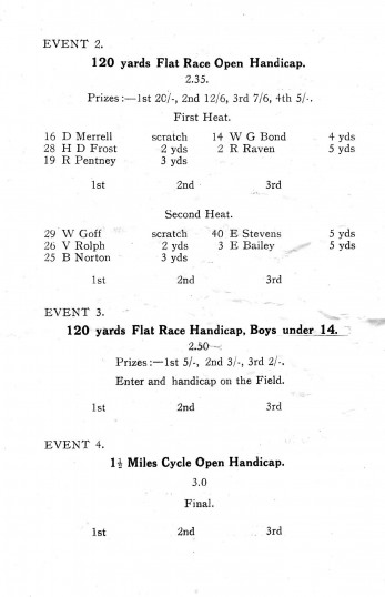 Pymoor and Oxlode Sports Day Programme. (Page 4)
