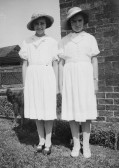 Freda and Peggy Graham outside their house in Main Drove, Pymoor.