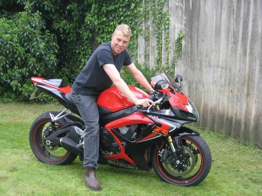 Matthew Golding on his Suzuki motorcycle in Pymoor, 2007.