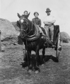 Clem Graham with his daughters, Freda and Peggy, in Main Drove, Pymoor.