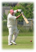 Opening batsman, Paul Ruskin, in play for Pymoor CC in a home game at the Clubs ground in Pymoor Lane, Pymoor.