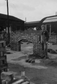 Alan Butcher of Pymoor training to be a Bricklayer, circa 1960.