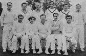 Pymoor Cricket Team pose for a team photograph before their match against Little Thetford 1970.