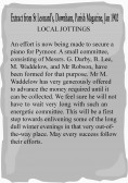 Extract from the Downham Parish Magazine about the purchase fo a piano in Pymoor to enliven the dull winter evenings.