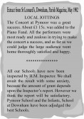 Extract from the Downham Parish Magazine about a Concert held for the Piano Fund and Pymoor School Inspector's Report.
