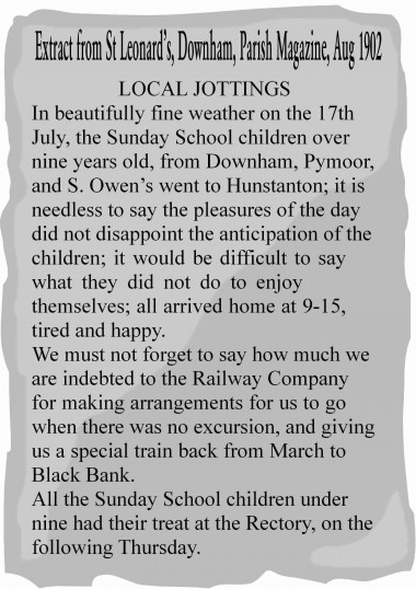 Extract from the Downham Parish Magazine about Pymoor Sunday School's outing to Hunstanton and an appreciation of the Railway Company.