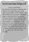 Extract from the Downham Parish Magazine about the incapacity, due to an accident,  of Pymoor School mistress, Miss Dust.. Miss Dust