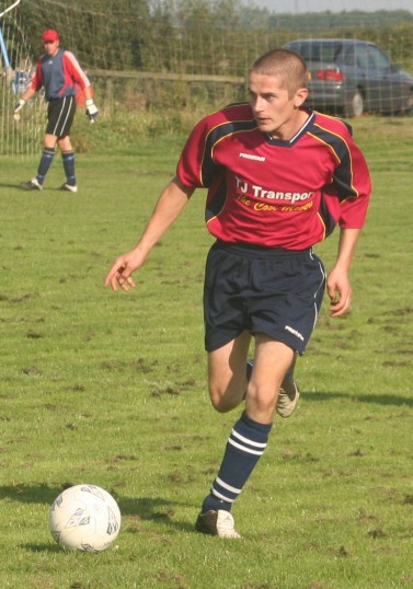 Jason Cridford in play for Pymoor FC against Wisbech St Mary at the Pymoor Sports Ground 2006.