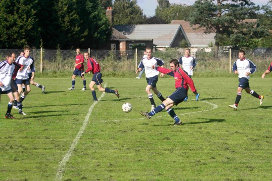 Stephen Ball shoots for goal in Pymoor FC's home match against Wisbech St Mary at the Pymoor Sports Ground 2006.