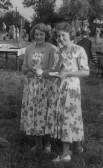 Amy Hall aged 16 and Pamela Harrison aged 14 at the Pymoor Garden Fete, Pymoor.