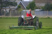 Matthew Golding cutting the grass, readying the 'outfield' for the forthcoming season at the Pymoor Cricket Club, Pymoor Lane, 2008.