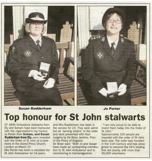 Sue Rudderham of Pymoor, received the Order of St John for her services to the St John Ambulance at a ceremony in London, 2008.