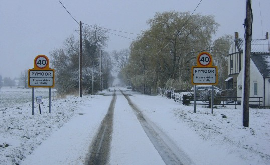 Pymoor Lane, Pymoor, in a blizzard.