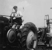 Johnny Martin on his John Deere tractor in Pymoor.