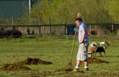 Pymoor Cricket Captain, Steve Saberton,  surveys the outfield and wonders if it will ever be cleared of grass cuttings.