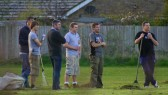 Six of the Pymoor Cricket Team take a break from clearing the outfield of grass cuttings and enjoy a beer 2008.