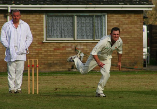 A determined Carl Ward takes no prisoners in Pymoor Cricket Club's opening home game against Fordham CC 2nd XI .. Pymoor CC Ist XI v Fordham CC 2nd XI 2008