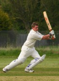 Pymoor Cricket Captain, Steve Saberton, drives the ball to the boundary in the clubs opening home match of the season against Fordham CC 2008.