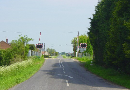 The Railway crossing on Black Bank Road, Pymoor, looking in the direction of Littleport.