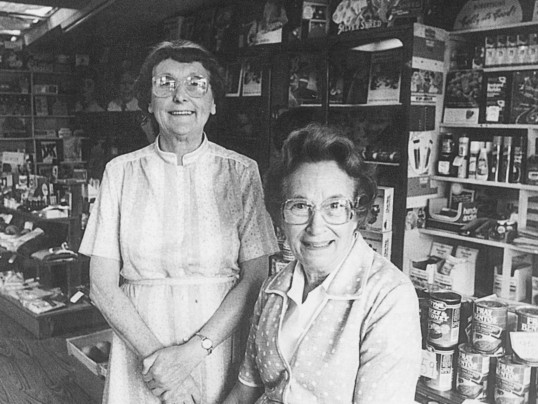 Joan and Vera Saberton in Saberton's Stores, Main Street, Pymoor 1986.