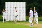 Pymoor Cricket captain Steve Saberton takes another wicket against Wilburton Cricket Club 2009.