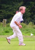 Chris Baker holds a catch for Pymoor Cricket Club against Wilburton CC 2008.