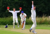 Pymoor Cricket Club opening batsman Shaun Butcher survives an impassioned appeal for lbw from Wilburton CC 2008.
