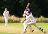 Pymoor Cricket Club opening batsman Shaun Butcher hits another 4 runs against Wilburton CC 2008.