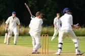 Pymoor Cricket Club opening batsman Jack Hargraves hits another 4 runs against Wilburton CC 2008.