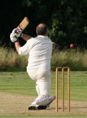 Pymoor Cricket Club opening batsman Jack Hargraves hits another boundry against Wilburton CC 2008