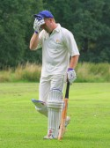 'Why did I play that shot?' Pymoor Cricket Club opening batsman, Shaun Butcher, takes the long walk back to the Wilburton pavillion 2008.