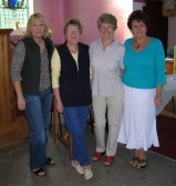 Four ladies who helped to set out the Pymoor Methodist Church for a very successful 'Bygone Quiz', 2008.