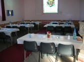 Tables have been set out for a Bygone Quiz in the Pymoor Methodist Church, Main Street, Pymoor, 2008.