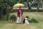 Cynthia Parson, with 'Sky' and 'Jake', in her mother's garden in Pymoor Lane, Pymoor, 2008.