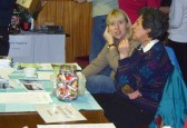 Tracy Butcher and Julia Strong at the Pymoor Social Club Christmas Bazaar 2008.