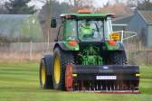 Airiating the Pymoor Cricket Club field in Pymoor Lane, Pymoor.