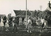Dancing around the May Pole in Pymoor 1949.