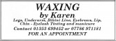 Advertisement in the Parish Magazine for Waxing by Karen of Pymoor, 2008