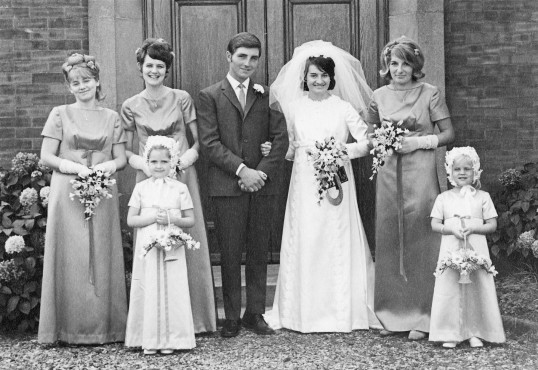 The wedding of Norman and Pam Golding at the Pymoor Methodist Chapel, Main Street, Pymoor, 1969.