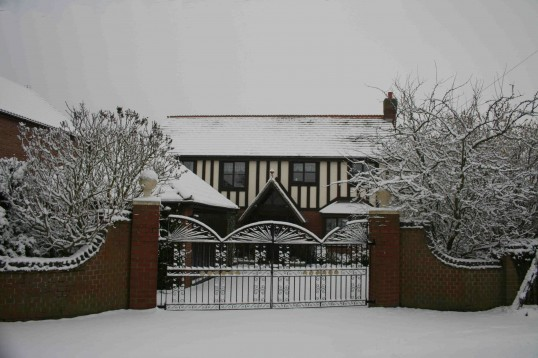 Tudor Lodge, Pymoor Lane, Pymoor after the heavist fall of snow seen in the village for many years, 2009.
