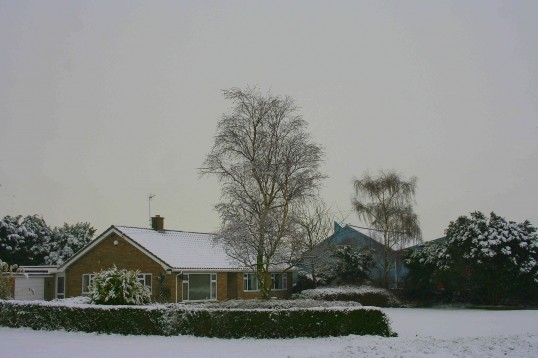Lane Farm, Pymoor Lane, Pymoor, after the heaviest fall of snow seen in the village for many years.