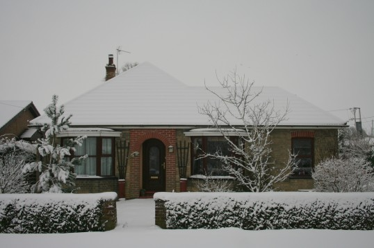 6, Pymoor Lane, Pymoor, after the heaviest fall of snow seen in the village for many years, 2009.
