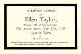 Funeral card for Ellen Taylor of Pymoor who died on 27th May 1937.. Ellen Taylor
