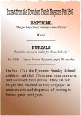 Extracts from the Downham Parish Magazine dated Feb. 1893 detailing Baptisms and Burials and The Pymoor Sunday School Christmas Treat.