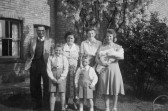 Claude Golding and Family with Dora Darby in Pymoor. Circa 1951
