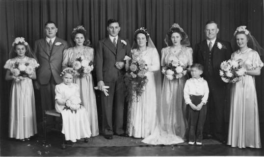 The wedding in Pymoor of Norman Taylor and Dorrie Dewsbury, 1945.